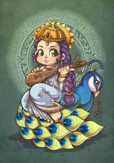 Chibi Saraswati by In-Sine on DeviantArt Art Drawings For Kids, Art Drawings Sketches, Cartoon Drawings, Cute Drawings, Shiva Art, Krishna Art, Hindu Art, Lord Krishna, Lord Durga