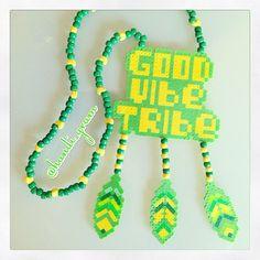 @kandi_gram good vibe tribe perler kandi necklace!