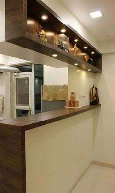 Small Kitchen Bar, Kitchen Bar Design, Home Decor Kitchen, Interior Design Kitchen, Small Open Kitchens, Kitchen Bar Counter, Kitchen Dining, Modern Kitchen Interiors, Cuisines Design