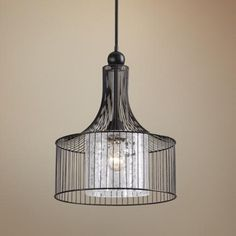 rounder version available too.  Carleton Cylinder Cage Pendant by Uttermost Lighting