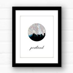 Portland Oregon art  Portland skyline  by PaperFinchDesign on Etsy