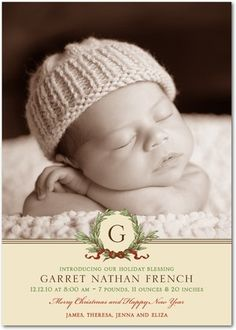 Holiday birth announcement...get a hat like this!