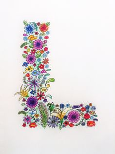 Illustrated letter L | alphabet | lettering | floral | flowers | flora | hand drawn | typography