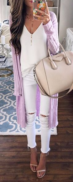 long purple cardi + all white everything