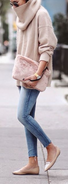 @roressclothes closet ideas #women fashion outfit #clothing style apparel Fuzzy Turtleneck Sweater and Jeans