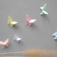 Papillon mariage 6 mini decor pastel petit lot rose bleu decoration table invitation