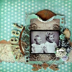 Sweet ~ Wonderful contrasting of styles - A bright polka-dot background imparts a playful, retro feel while a circle of vintage elements surrounding the photo give the layout an antique look. The repeating circle elements from both styles brings them together so they don't compete for attention.