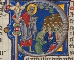 Abbey bible Getty MS 107; Bologna 1250-1262; f. 443r sv. Pavel mluví k lidu
