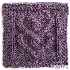 Two of Hearts is pattern in the 2018 Harmony Blanket Knit Along. Just in time for Valentine's Day, twisting cables form a pair of intertwined hearts. The pattern includes both written and charted versions of the instructions. Knitted Washcloth Patterns, Knitted Washcloths, Knitted Afghans, Knit Dishcloth, Knitted Blankets, Knitting Stiches, Cable Knitting, Knitting Patterns Free, Knit Patterns