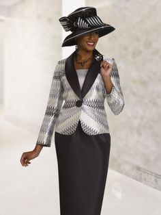 Ben Marc 47816 Womens Pattern Church Suit- Two piece Brocade women's church suit featuring a 25 inch pattern jacket and 32 inch skirt.