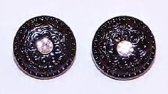 "1789~Vintage Set of Two Black Plastic Clear Rhinestone Buttons 1/2"" Diameter**"