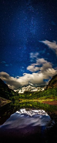 Maroon Bells under a Full Moon - #tmophoto landscape and night photography by Thomas OBrien