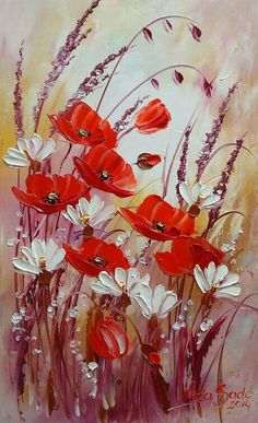 Items similar to Red Poppies Original Oil Painting Meadow IMPASTO White Daisies Flowers Impression Garden Floral Palette Knife Textured art Europe Artist COA on Etsy Oil Painting Flowers, Painting & Drawing, Flower Paintings, Garden Painting, Painting Videos, Painting Lessons, Painting Tutorials, Garden Art, Flor Iphone Wallpaper