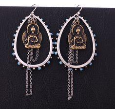Min.order é de $ 15 Frete Grátis 2012 Vintage Único cadeia longa Buda Brincos Mulheres E412