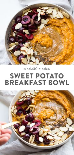 This sweet potato breakfast bowl is the perfect breakfast quick and easy a bit naturally sweet packed with protein fiber and healthy fats Its strangely de. Breakfast And Brunch, Whole 30 Breakfast, Sweet Potato Breakfast, Breakfast Potatoes, Breakfast Bowls, Whole 30 Dessert, Eat Clean Breakfast, Detox Breakfast, Gourmet Breakfast