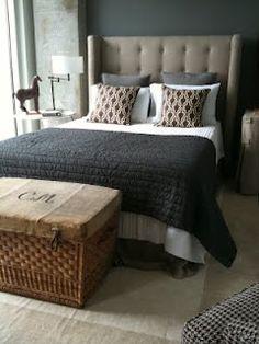 Bedroom. love the basket. via annette joseph