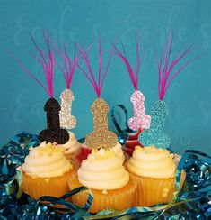 Dont buy those tired plastic penis straws to your Bachelorette Bash- decorate with some of our truly naughty penis decor! Our 2 mini penis party cupcake toppers with pink feathers are perfect for a Bachelorette Party, Hen Party, or Pure Romance Party and look great on cupcakes, as drink