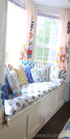 DIY window seat- looks so inviting... LOVE
