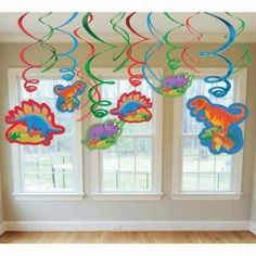 Show details for Dinosaur hanging swirl decorations