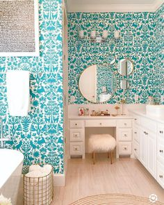 Bathroom decor for the master bathroom remodel. Learn master bathroom organization, bathroom decor a few ideas, master bathroom tile ideas, master bathroom paint colors, and more. Diy Bathroom, Retro Decor, Bathroom Wallpaper, Small Bathroom Decor, Home Decor, Bathroom Colors, Bathrooms Remodel, Bathroom Design, Bathroom Decor