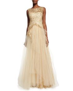 TAU88 Marchesa Notte Sleeveless Lace-Bodice Tulle-Skirt Gown
