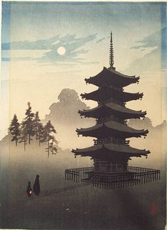 """KOBAYASHI, Eijiro–""""A Pagoda by Moonlight"""""""