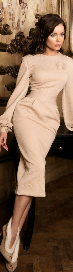 @roressclothes clothing ideas #women fashion beige dress Yulia Prokhorova Autumn-Winter 2015/2016
