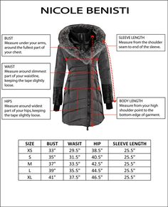 Jacket features a slim and tailored fit.  Please consult size chart before selecting size. Winter meets its match this season in the form of a military inspired anorak made from a densely woven nylon fabric, coated with teflon, filled with fine down feathers for ultimate cool weather protection.  Key features include a concealed frontal zip closure with snap placket, oversized utilitarian pockets at hips, rabbit lined hood with a luscious fur lining.