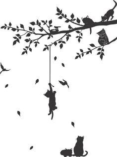 ADESIVO DECORATIVO DE PAREDE Adesivo Decorativo Gatos Pendurado na Arvore Tamanho: 135x101cm Descrição Decore sua casa: ideal para sala, quarto, cozinha, moveis, escritório, vidros de box, janelas, portas, etc. Ótima qualidade: Recortado eletronicamente em máquina de última geração. ...