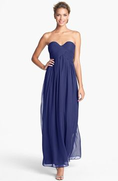 Donna Morgan 'Laura' Ruched Sweetheart Silk Chiffon Gown (Regular & Plus) available at #Nordstrom.     Nice colors looks good on all sizes.....this navy ish looks good with your color.. And lite pink
