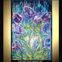 Original Large Abstract Painting Modern Contemporary Canvas Art Blue Purple SPRING SYMPHONY Flowers 36x24 Palette Knife Texture Oil J.LEIGH on Etsy, $349.00
