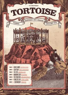 "universalkeys: "" Tortoise - the Australian return "" New Zealand Tours, Wallpaper Stickers, Tortoise, Touring, Posters, Aliens, Gig Poster, Tortoise Turtle, Turtles"