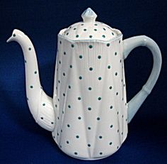 Fab Shelley Polka Dot Dainty shape coffee pot or tall teapot  turquoise dots 1940s