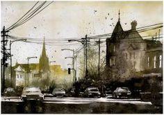 by katarzynajaskiewicz on DeviantArt Watercolor City, Watercolor Artists, Watercolor Portraits, Watercolor Paintings, Watercolors, Street Painting, Colorful Paintings, City Art, Online Art Gallery