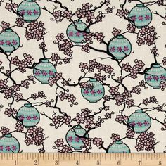 Mary Fons Small Wonders Japan Digital Print Cherry Blossoms Cream from @fabricdotcom  Designed by Mary Fons for Springs Creative Products, this cotton print fabric is perfect for quilting, apparel and home decor accents. Colors include pink, black, magenta, aqua and ivory.