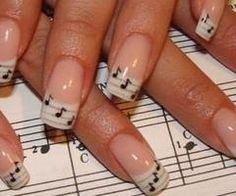 I am unfolding inspiring sheet music nail art designs, ideas & trends of I hope you would love the collection. Make various music notation signs on your nails, add glitters and dark base coat so the signs appear more aptly and look beautiful. Music Note Nails, Music Nail Art, Music Nails, Piano Nails, Art Music, French Nails, French Manicure Nails, Diy Nails, French Manicure With A Twist