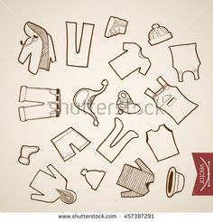 Engraving vintage hand drawn vector winter clothes collection. Pencil Sketch belongings and accessories illustration.