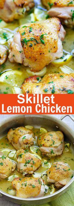 Lemon Chicken one pan chicken perfection in buttery lemon sauce. Easy lemon Whats for dinner? Easy Lemon Chicken Recipe, Chicken Recipes, Carne, Easy Dinner Recipes, Easy Meals, My Favorite Food, Favorite Recipes, Cooking Recipes, Healthy Recipes