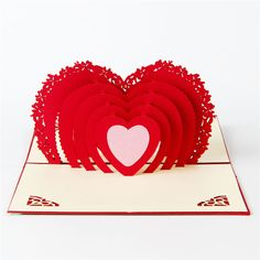 1pcs Show love Hearted Postcards 3D pop up Greeting Cards for Valentine's Day kirigami origami with envelope D0