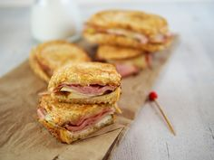 Grilled ham, cheese and pear sandwich...this would be bread with some pineapple instead of pear, and a little pizza sauce for dipping...