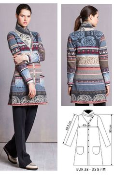 IVKO Woman`s Long Wool Brocade Jacket Style 52735 018 in ANTHRACITE