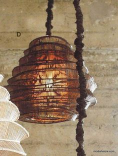Awesome bamboo pendants! Love the organic shapes of these feature lights!