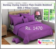 Bombay Dyeing Essence Plain Double Bedsheet With 2 Pillow Covers Purple Rs 1470