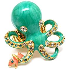 Inka's Aqua Blue Octopus & Fish Cocktail Ring - Only $39.95 — Fantasy Jewelry Box