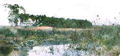 Julian Falat (1853 — 1929, Poland)  Riverside landscape. 1893 watercolour on cardboard, 31 x 62 cm.