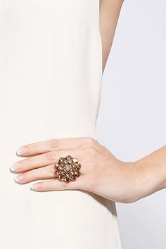 Crystal Flower Ring by Oscar de la Renta