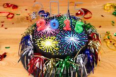 Fireworks New Year's Cake Tutorial - Cookies, Cupcakes, and Cardio Cookies Cupcakes And Cardio, Fireworks Cake, New Year's Desserts, Cake Templates, New Year's Cake, Pear Cake, Pear Recipes, Baking Tins, Novelty Cakes