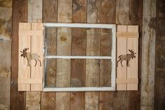 Exterior Moose Shutter made of Premium Pine perfect for your Cabin, cottage, or beach house great rustic northwoods decor These distinctive Shutters are made to order in the US by a Veteran with the pattern of your choice. They do come unpainted, or I can clear coat it if you'd like for weather