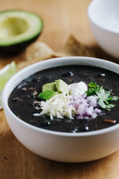 A simple yet flavorful black bean soup that can be customized with a variety of toppings.