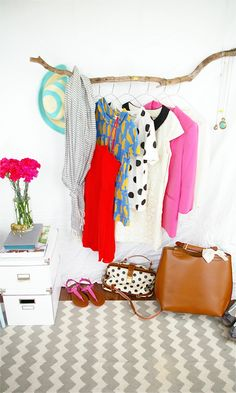 This DIY Branch Clothing Rack is so easy and inexpensive that it makes finding a branch look like complete rocket science. Small Bedroom Storage, Closet Storage, Small Bedrooms, Dorm Room Organization, Organization Ideas, Clothing Organization, Diy Casa, Storage Hacks, Storage Ideas